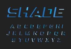 Blå bokstavsuppsättning Latinskt alfabet för vektor Mörkerfärgstilsort Negativ utrymmemonogram för utklipp och logomall royaltyfri illustrationer