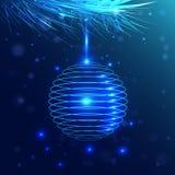 Blå boll som hänger på en fluffig filial Isolerade färgbilder på svart bakgrund stock illustrationer