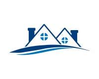 Blå bostads- hussymbol Royaltyfria Bilder