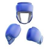Blå boxninghjälm med handskar royaltyfria bilder