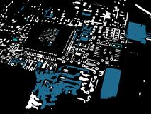 blå brädeströmkretsgrunge Arkivfoto
