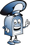 Blå brevlåda med en stor hatt Royaltyfri Foto
