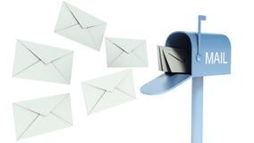 Blå brevlåda med poster som isoleras på vit Fotografering för Bildbyråer