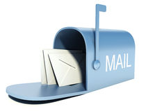 Blå brevlåda med poster som isoleras på vit Royaltyfria Foton