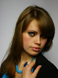 blå briljant kvinna royaltyfria foton