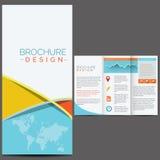 Blå broschyrmall Arkivbild