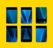 Blå broschyrmallsamling Fotografering för Bildbyråer