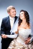 blå brudbrudgum som att gifta sig bara Royaltyfria Foton