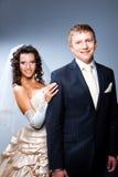 blå brudbrudgum som att gifta sig bara Royaltyfria Bilder