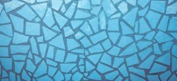Blå bruten mosaikbakgrund för keramisk tegelplatta Royaltyfri Foto