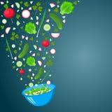 Blå bunke med att falla i den olika grönsaker stock illustrationer