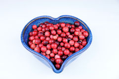 blå bunkecranberrieshjärta Fotografering för Bildbyråer