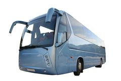 blå buss Arkivbild