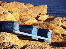 Blå byggnadspalett i Mykonos Arkivfoton