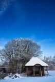 blå byggnadsskysummerhouse under vinter arkivbilder