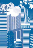 blå byggnadsstadsillustration Royaltyfri Fotografi
