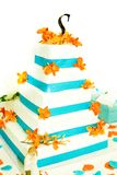 blå cakebröllopwhite arkivfoton