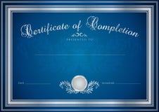 Blå certifikat-/diplombakgrund (mallen) Royaltyfria Bilder