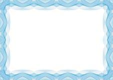 Blå certifikat- eller diplommallram - gräns royaltyfri illustrationer