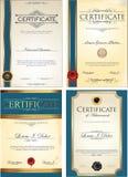 Blå certifikatmallsamling Royaltyfria Foton