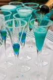 blå champagne Arkivbilder