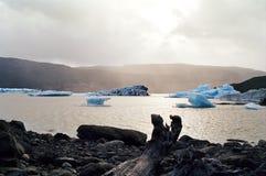 blå chile flottörhus isberglake Arkivbild
