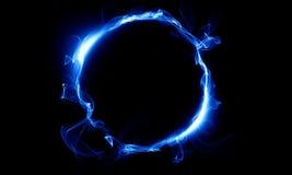 Blå cirkel som består av en rök Det magiska tinget fantasi Arkivbild