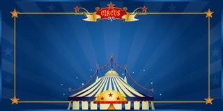 Blå cirkusinbjudan för magi Royaltyfri Foto