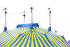 blå cirkustentyellow Arkivfoto