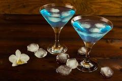 Blå coctail i en martini exponeringsglas Arkivbilder
