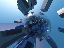 blå cubism D Arkivfoto