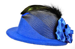 Blå dams för tappning hatt med svarta fjädrar Royaltyfria Foton