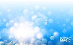 Blå defocused ljushimmel Realistiska designbeståndsdelar för effekt Modern bakgrund för vektorillustration royaltyfri illustrationer