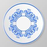 Blå dekorativ platta för vektor Arkivfoto