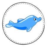 Blå delfin som isoleras på vit bakgrund Vänlig delfintecknad filmillustration Royaltyfri Bild