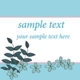Blå design för blommakortmodell, Royaltyfri Foto