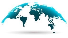 Blå design för jordklotöversiktsaffär Jordkontinentkontur royaltyfri illustrationer