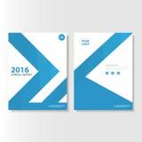 Blå design för mall för reklamblad för broschyr för broschyr för vektorårsrapporttidskrift, bokomslagorienteringsdesign Royaltyfri Bild