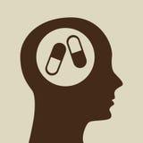 Blå design för symbol för kapsel för konturhuvudmedicin Arkivfoton