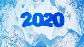 Blå design stora 2020 inom en med is grotta stock illustrationer