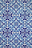 blå detalj glasade portugisiska tegelplattor Royaltyfri Fotografi