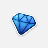Blå diamant för klistermärke royaltyfri illustrationer