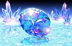 Blå diamant på vatten vektor illustrationer