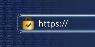 Blå digital binär kod Https för säker rengöringsduk stock illustrationer