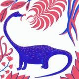 Bl? dinosaurie med korall och bl?a sidor p? en vit bakgrund stock illustrationer