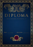 Blå diplom-/certifikatbakgrund med gränsen Royaltyfria Foton