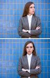 blå diptych nära ståendeväggkvinna royaltyfria bilder