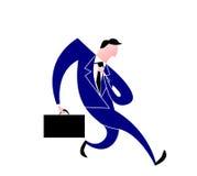 Blå dräktledare som går med en portfölj, medan justera hans band vektor illustrationer