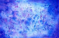 Blå dragen abstrakt bakgrund för vattenfärg hand Arkivfoto