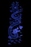 Blå drake i svart Royaltyfria Foton